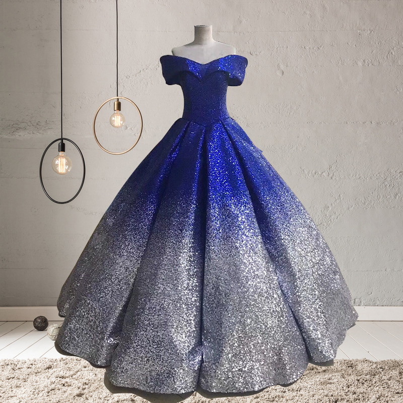 Luxury Boat Neck Vintage Quinceanera Dresses  6 Colors Off The Shoulder Bling Bling Sequin Party Debutante Dresses