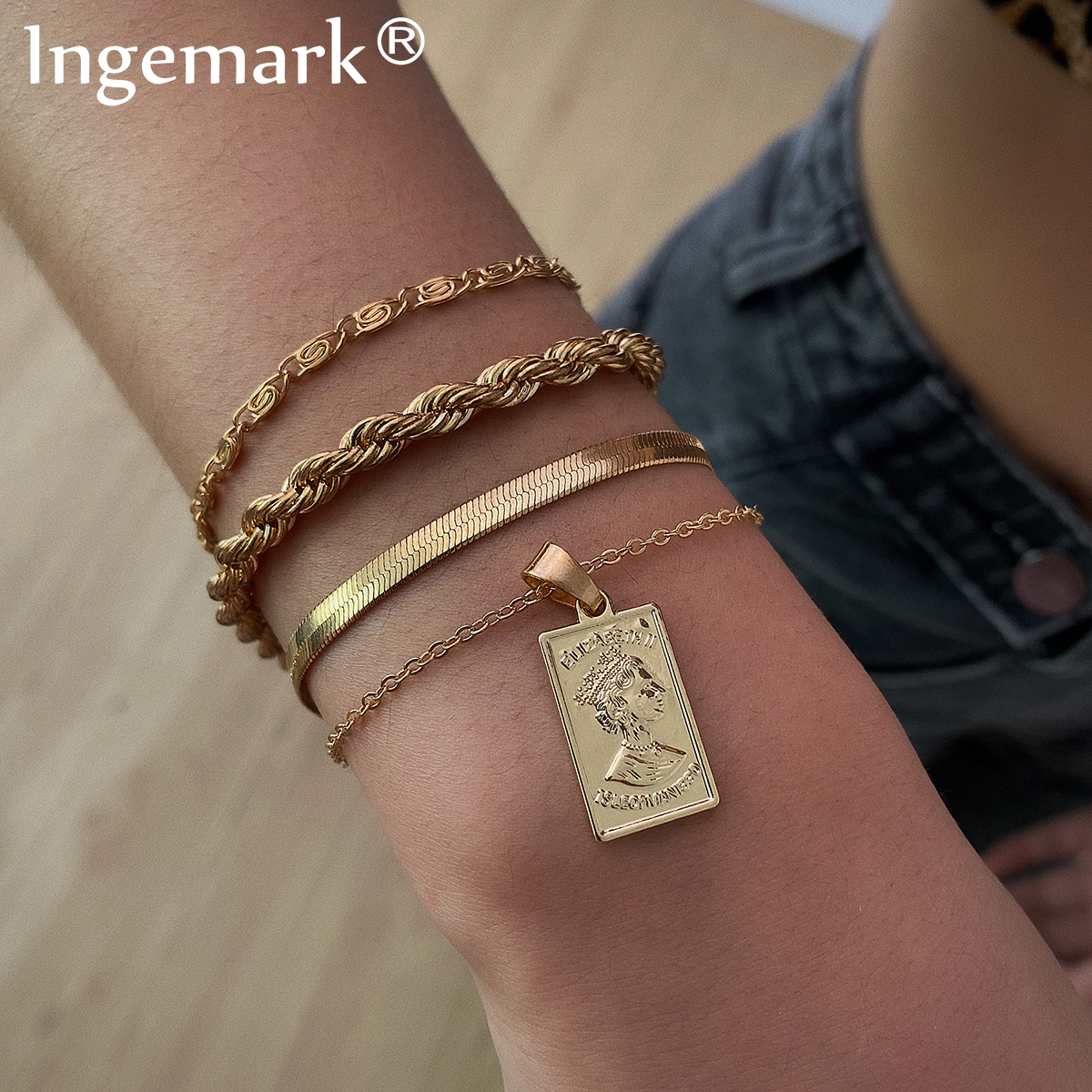 Ingemark Retro Iron Snake Chain Bracelets Set for Men Armband Punk Charm Angel Pendant Bracelet Bangle Best Women Jewelry Gifts