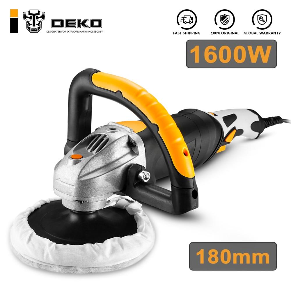 DEKO 220V 1600W Electric Polisher 3200rpm 180mm Variable Speed Auto Polishing Machine Car Polisher Floor Sanding Waxing Tools