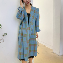 New Hat Checker Wool Overcoat Double-sided Fabric Mid-Autumn Long Wool Cashmere Overcoat 2019 Plaid Long Wool Coat