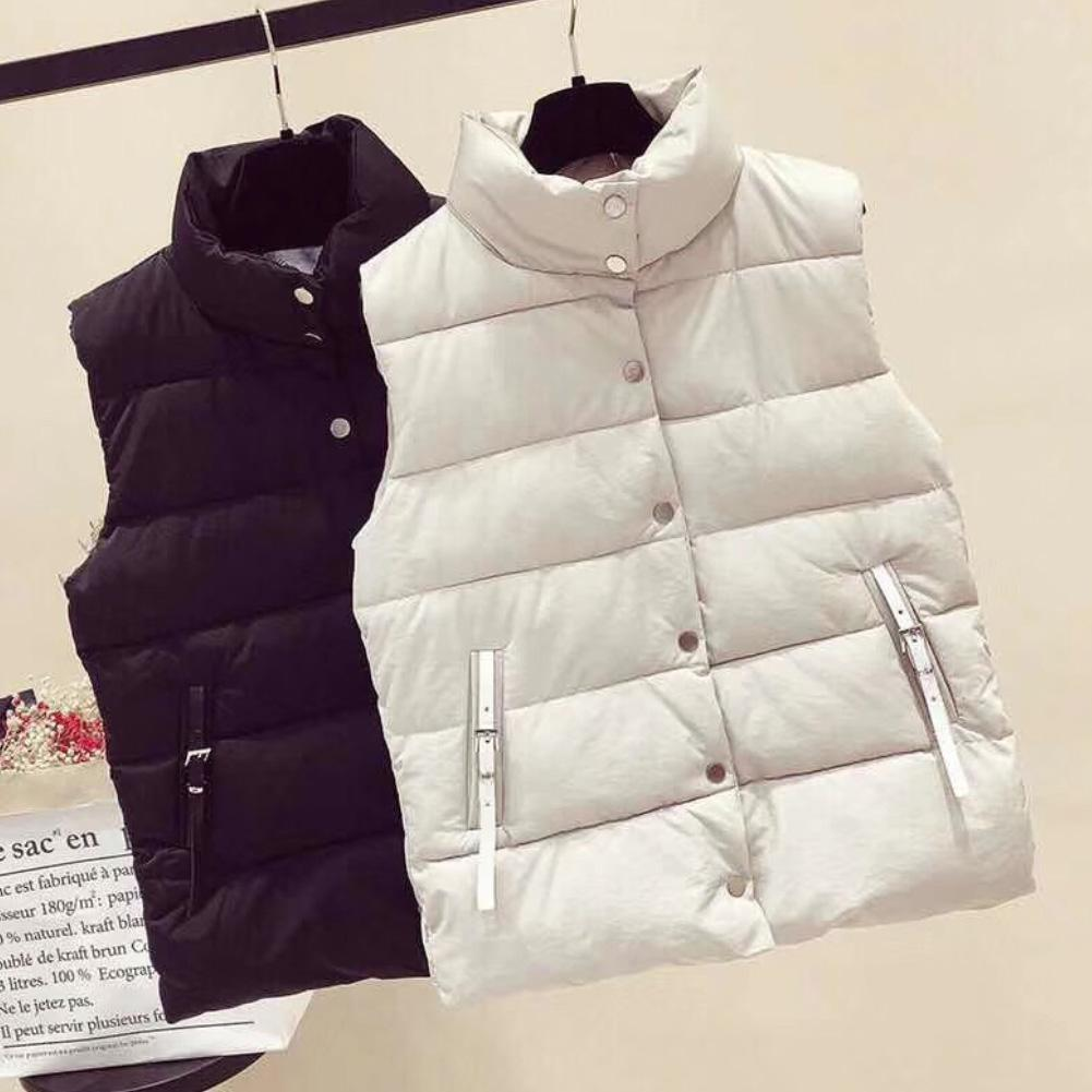Vest Women Korean style plain sleeveless winter warm-keeping vest coat single-breasted loose thick fashion vest coat