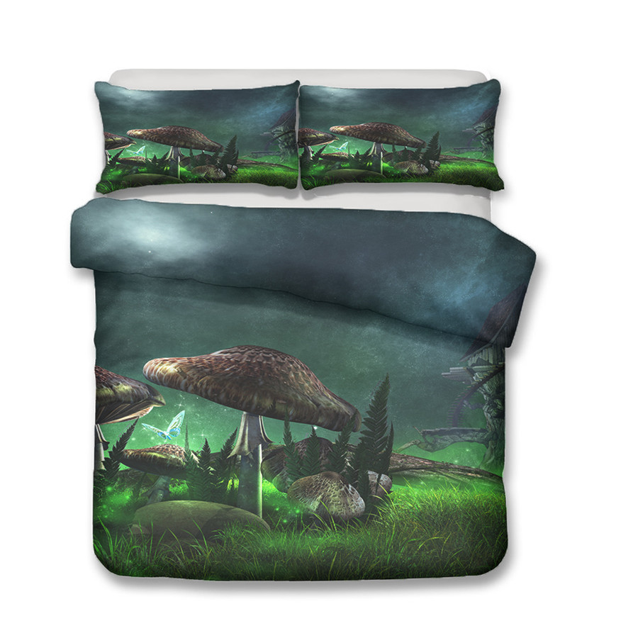 A Bedding Set 3D Printed Duvet Cover Bed Set Fairy Mushroom Home Textiles for Adults Bedclothes with Pillowcase MG06 in Bedding Sets from Home Garden