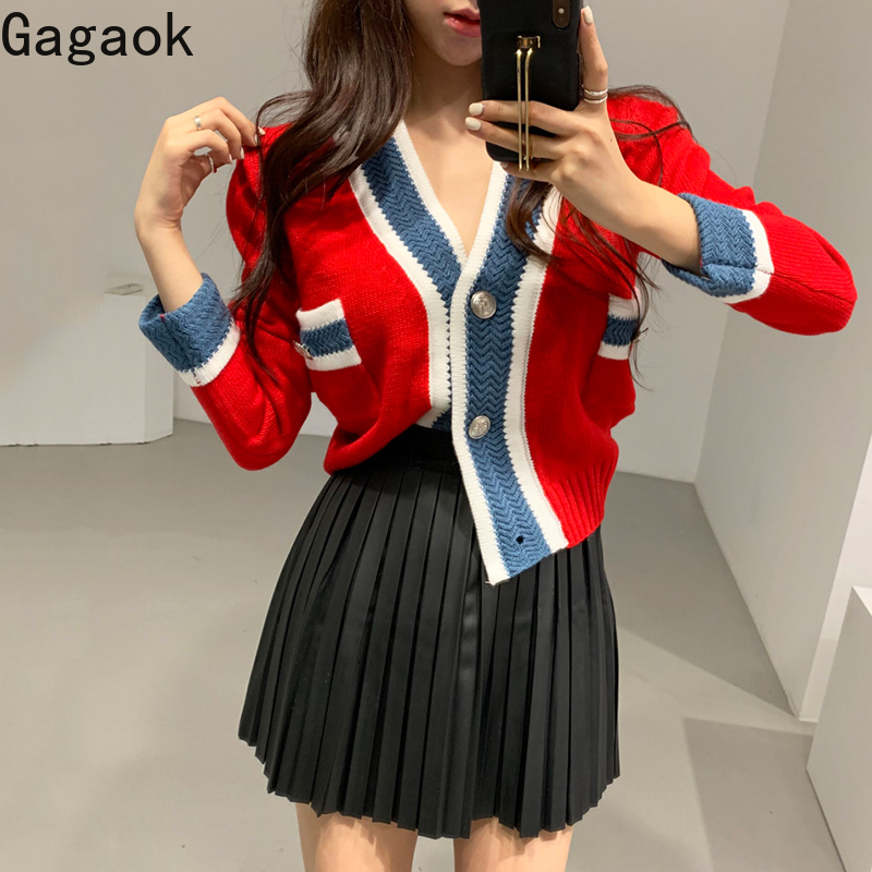 Gagaok Women Knitted Streetwear Sweater Early Spring New V-Neck Button Patchwork Short Sexy Slim Wild Female Fashion Cardigans