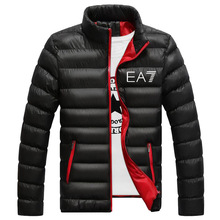 Outerwear Clothing Warm Coats EA7 Brand Winter Jacket Men Long Sleeve Quilted Padded Thick Jackets Parka Slim Fit Windbreaker