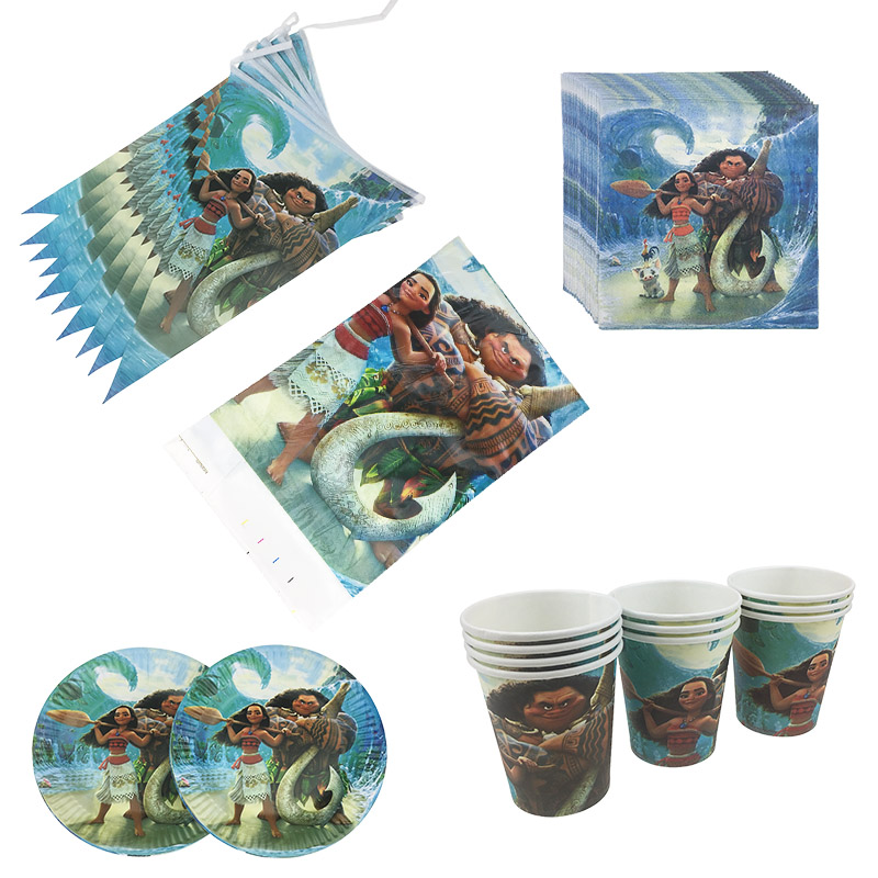 Moana Cartoon Party Set Tableware Plate Napkins Banner Happy Birthday Candy Popcorn Box Gift Bags Baby Shower Party Decoration