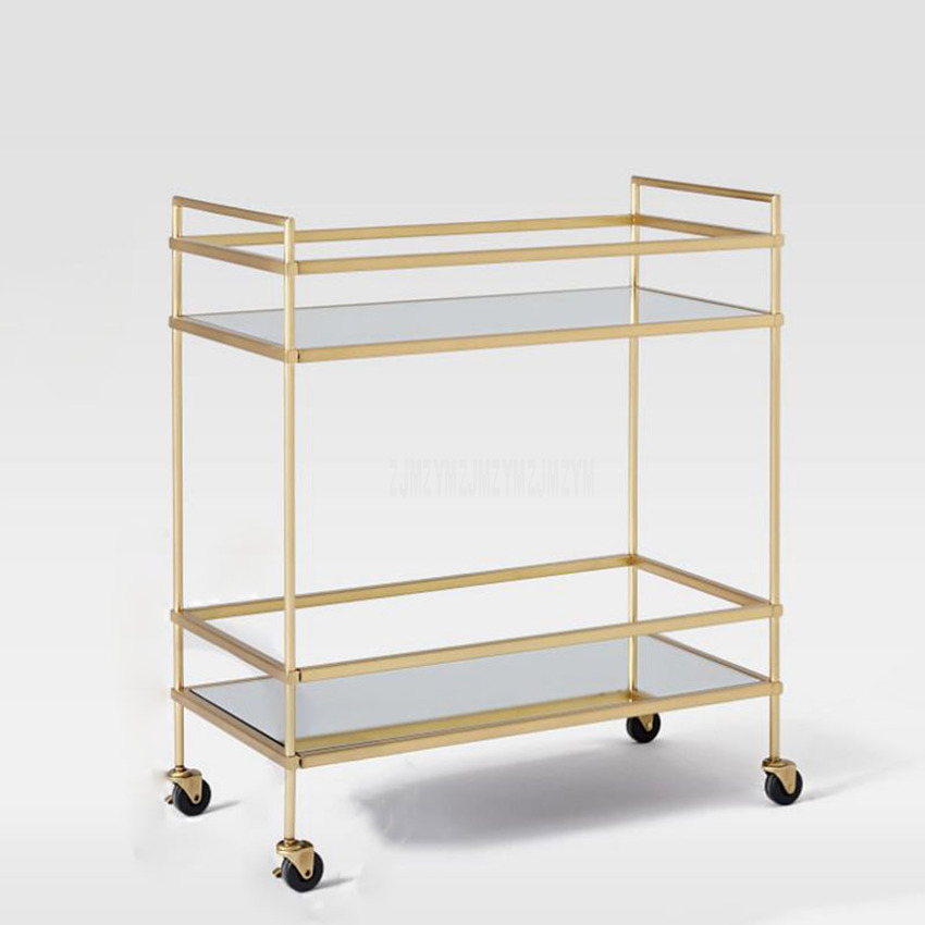 Hotel Dining Cart Double Layer Stainless Steel Wine Water Cart Service Car Living Room Shelf Dessert Trolley Hotel Furniture