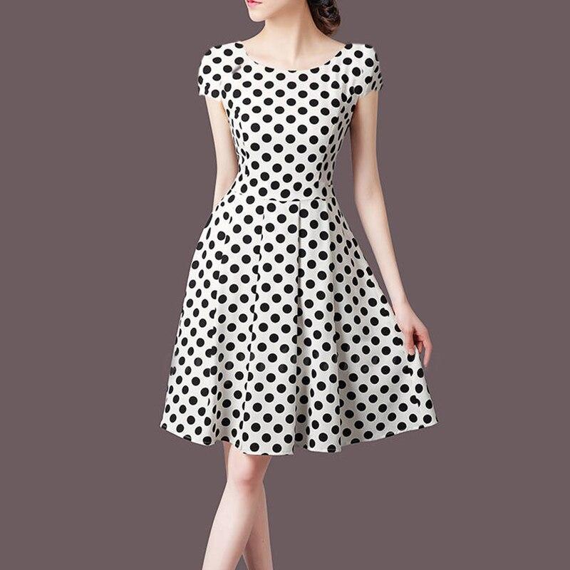 New Fashion Polka Dot Dress Summer Dress V-neck Short-sleeve Dress Ladies Sundress