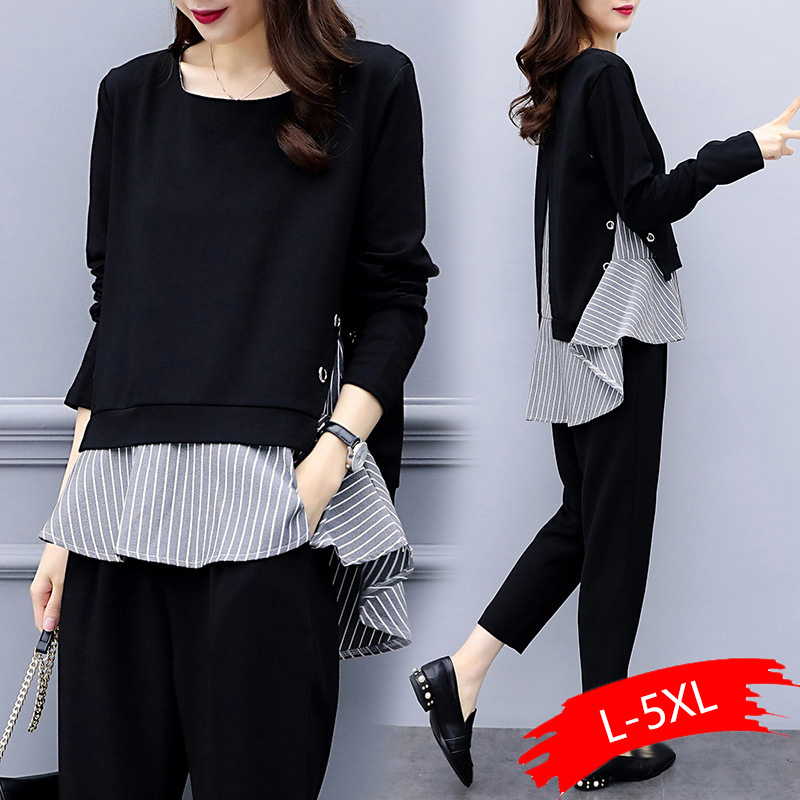 Black Two Piece Set Women Striped Splicing Long Sleeve Tops And Harem Pants Sets Casual Office Korean Ladies Suits 2020 Hot Sale