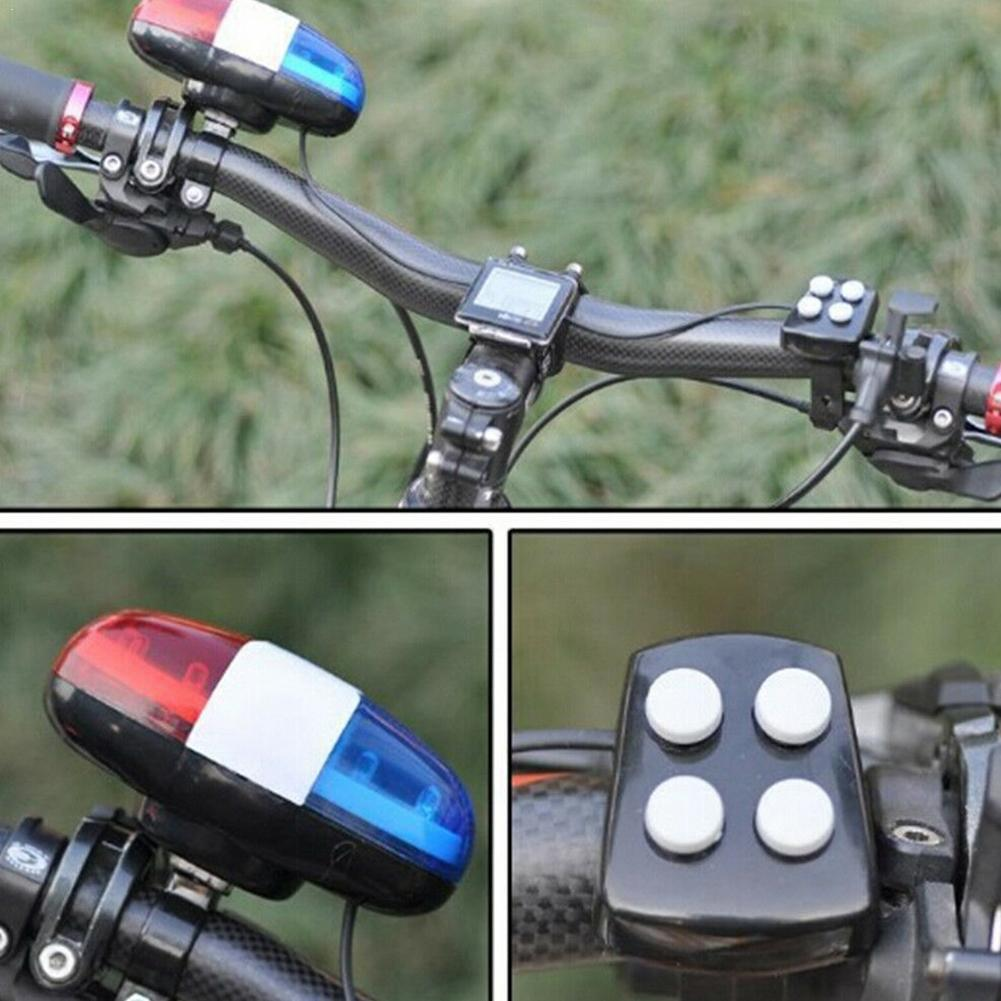 Bicycle 6 Flashing LED 4 Sounds Police Siren Trumpet Bike Horn Light Bell B2Cshop Rear E0T2