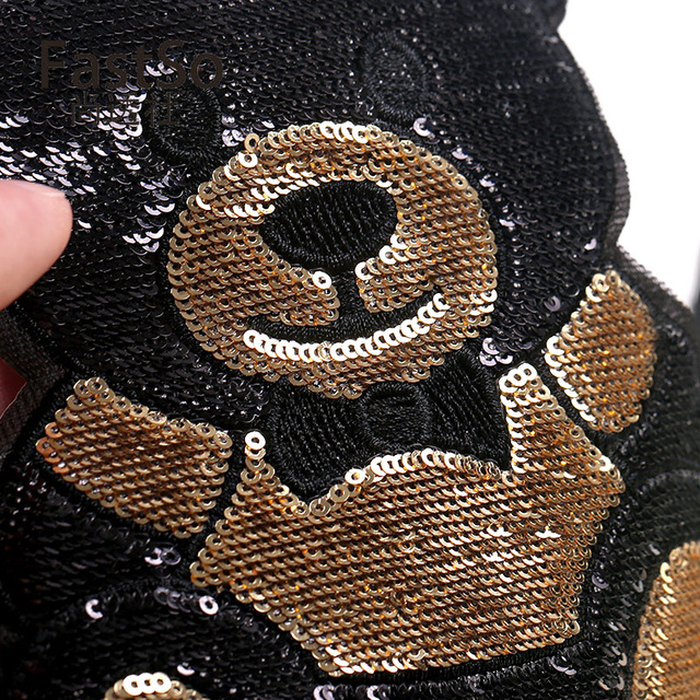 1 Piece S/L Size Cute Bear Sequins Embroidery Stickers Children'S Cloth Patches Holes Patches Cartoon Cloth Embroidery 4