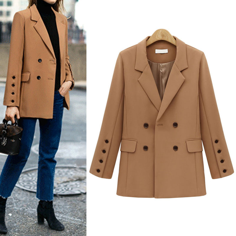 Vintage Double Breasted Blazer Women's Jacket 2020 Autumn Oversized Office blazer feminino Casual Solid Chic Suit Coat Female