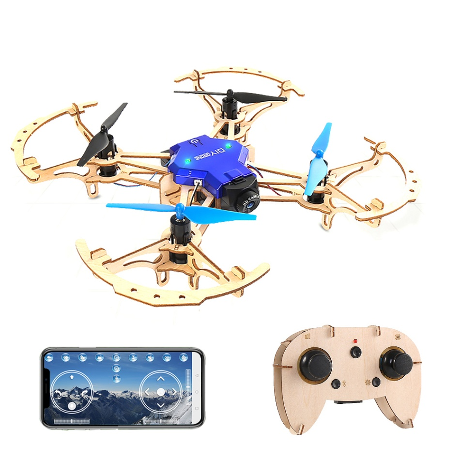 FN RC Drone ZL100 DIY Wooden Drones Mini Pocket Racing Quadcopter Mini Assemble Remote Control Toys for Kids christmas gift