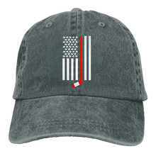 Hockey Stick And Teeth American Flag Casquette Unisex Mens Womens Denim Strapback Baseball Cap Adjustable Golf Dad hat(China)