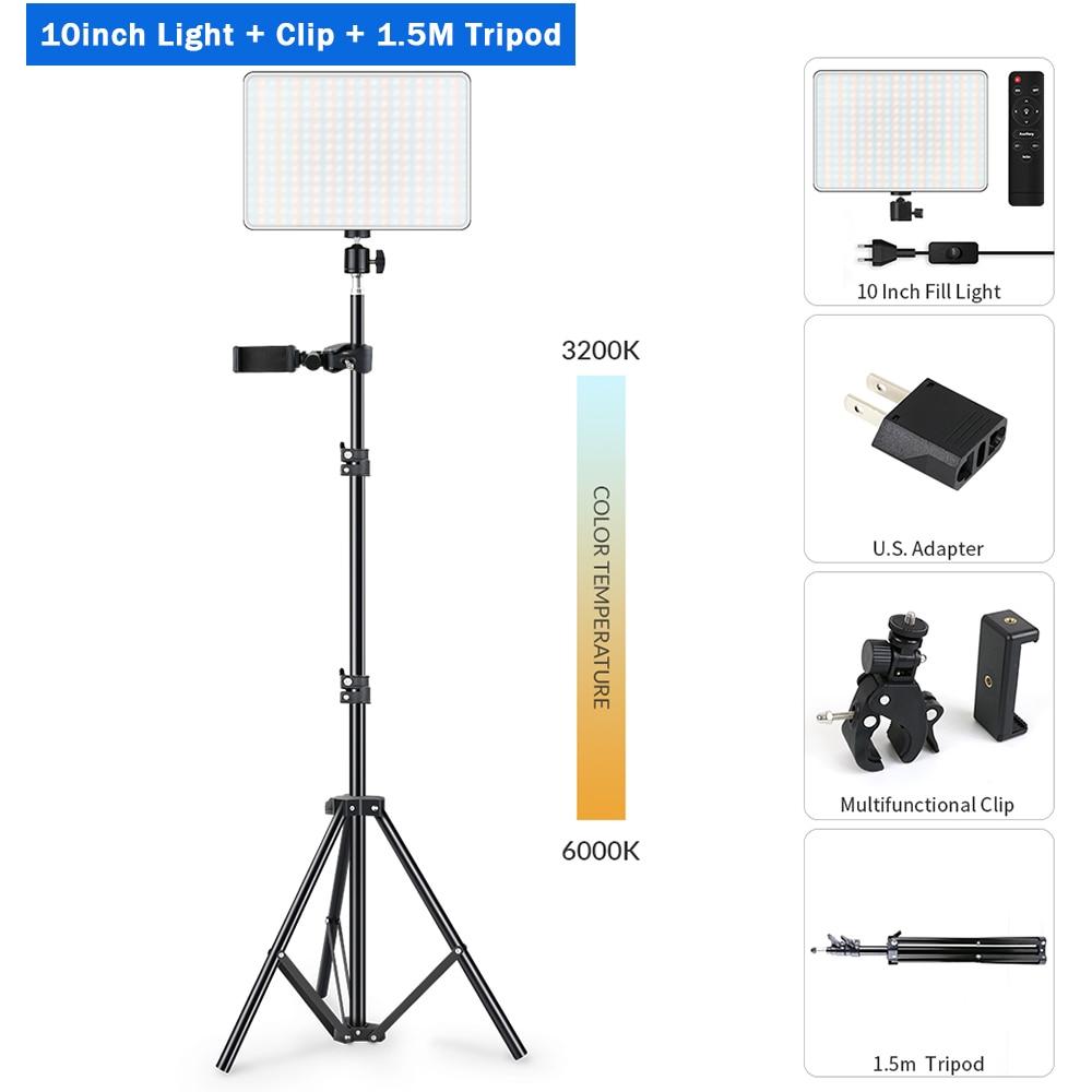 Hae4dffa1cf5a412f839fa6b9a231ffcf6 Dimmable LED Video Light Panel EU Plug 2700k-5700k Photography Lighting For Live Stream Photo Studio Fill Lamp Three Color