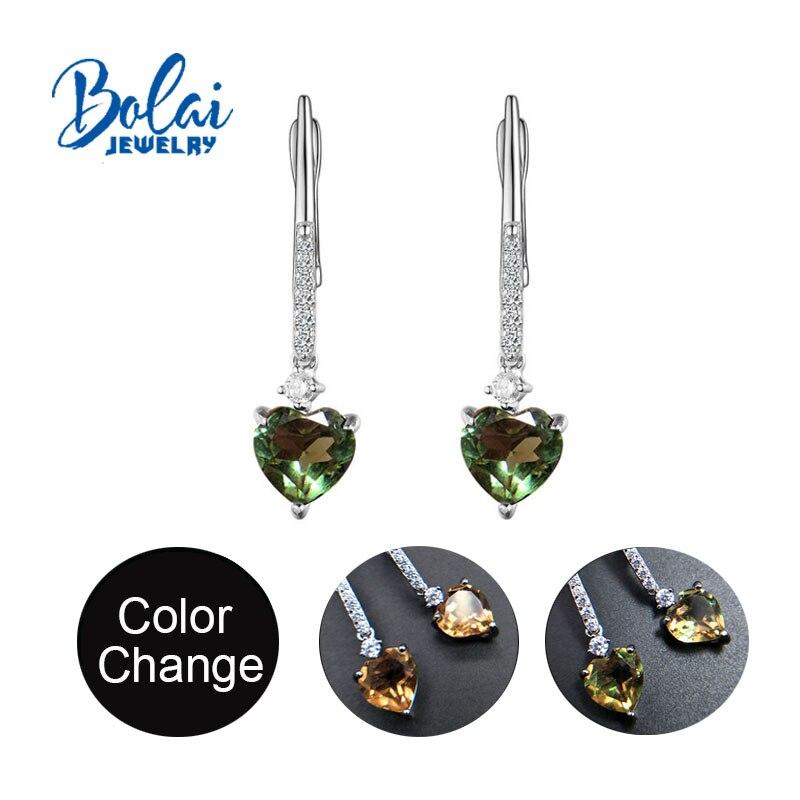 Bolaijewelry,creative Heart Shape Zultanite Earrings Color Change Gemstone 925 Sterling Silver Fine Jewelry For Women Girls