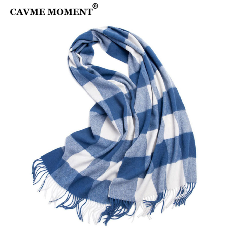 CAVME Plaid Wool Scarf Unisex Scarves Men's Plaid Long Scarf for Women Warps with Tassel Luxury Gift CUSTOM NAME/LOGO