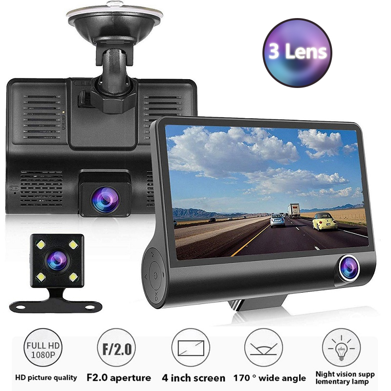 TOSPRA Full HD 1080P Car DVR Cameras 3 Lens 4.0 Inch Wide Angle Car Dash Camera Dual