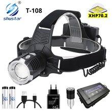 Süper parlak LED far P70.2 fitil USB şarj edilebilir far su geçirmez Zoom balıkçı ışığı 3 mod Powered by 18650
