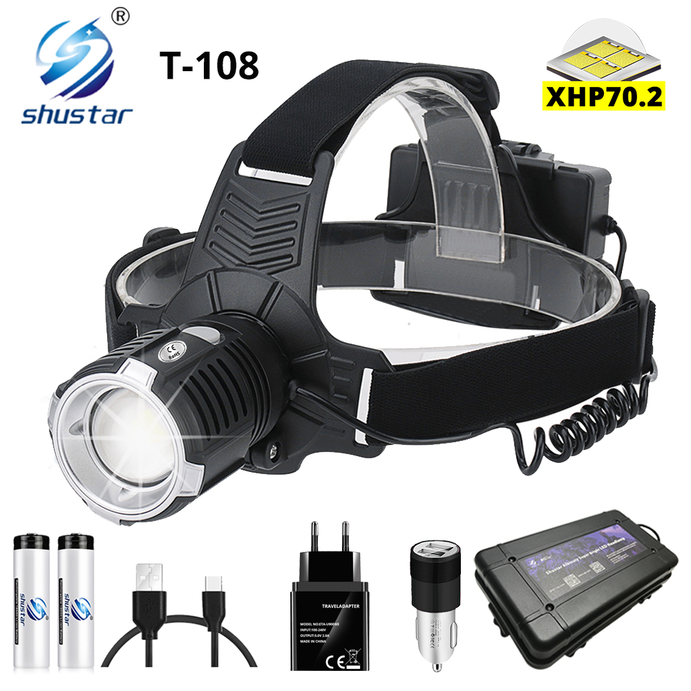 Super Bright LED Headlmap With P70.2 Wick USB Rechargeable Headlight Waterproof Zoom Fishing Light 3 Modes Powered By 18650