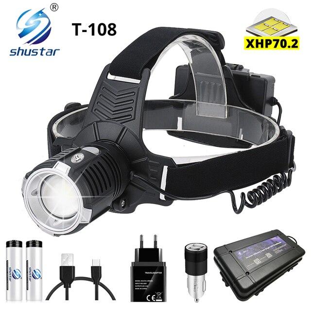 Super Bright LED ไฟหน้า P70.2 Wick USB ไฟหน้าแบบชาร์จไฟได้กันน้ำตกปลา 3 โหมดขับเคลื่อนโดย 18650