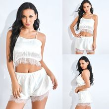 Women Summer Faux Silk White Pajamas Set Spaghetti Strap Cami Crop Top Wide Leg Shorts Sleepwear Sexy Eyelash Lace Trim Lingerie