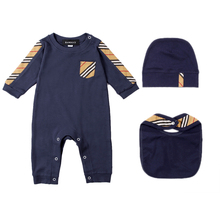 New summer fashion 3 pcs newborn baby clothes Plaid stripes cotton Long sleeve new born baby boys girls rompers Bibs hats sets