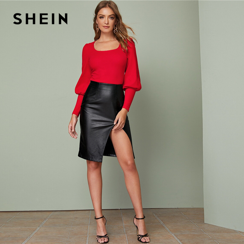 SHEIN Solid Leg-of-mutton Sleeve Top Slim Fitted Tee Autumn Scoop Neck Solid Office Ladies Elegant T-shirts 2