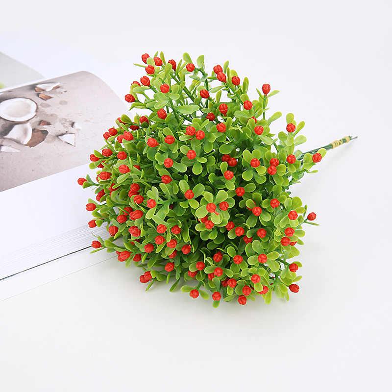 פלסטיק פרחים מלאכותיים ירוק דשא מלאכותי צמחי בית משרד שולחן דקורטיבי עלים המפלגה Decors צמחים 5 צבעים @ 4