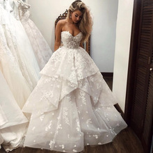 Wedding-Dress Plus-Size Bridal-Gowns Flowers Sweetheart Ruffles Elegant Princess Floral