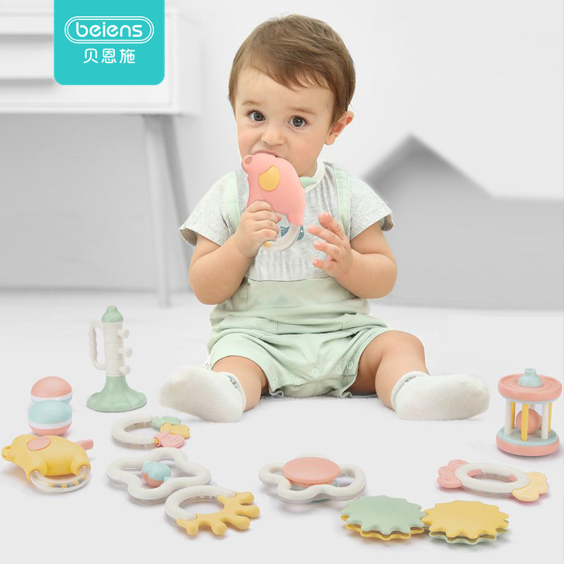 Beiens 2019 Silicone Teether Rattle Toys For Baby Infants Water Boiling  Baby Teeth Solid Grasping Hand Grab Bell Rattle Toys
