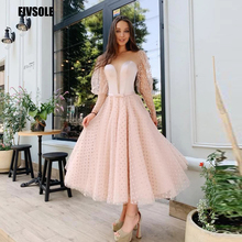 Fivsole 2021 New Dot Tulle Long Sleeves Evening Dresses A Line Princess Cute Formal Party Dress Tea Length Prom Gowns