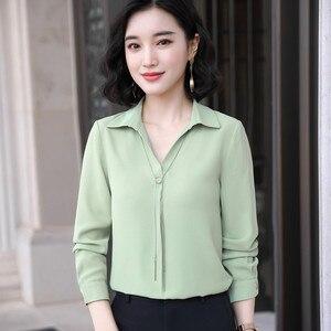 Image 2 - Blusa de chifón informal con manga larga para otoño, camisa con fruta verde para mujer, cuello de pico, para oficina, trabajo de negocios