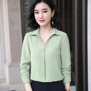 Image 2 - Fashion Women Autumn Fruit Green Shirt New Long Sleeve Casual V Neck Chiffon Blouses Office Ladies Business Work Top