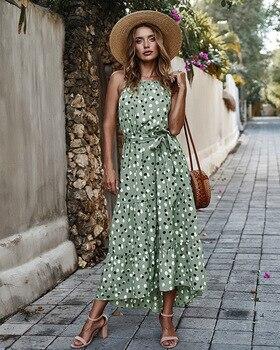 The New WOMEN Summer Polka Dot Sling Holiday Casual Dress Fashionable Sleeveless Bohemian Ankle-Length polka dot overlay tea length vintage dress