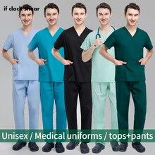 Medical Suits Dental Hospital Doctor Workwear Pharmacy Womens Scrub Sets Operating Room Work Uniform Suit Scrubs Uniforms Women