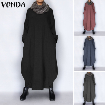 VONDA Plus Size Autumn Dress 2020 Vintage Sexy Long Sleeve Party Maxi Long Dress Casual Loose Vestidos Sundress Robe Femme S-5XL plus size women half sleeve ruffles casual summer dress sexy o neck a line loose mini everyday dress sundress vestidos feminino