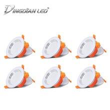 DINGDIAN LED 6Packs/lot 220V 6W Downlight Spot 3 Colors Changing Recessed Mount Energy Saving Bedroom Indoor Lighting
