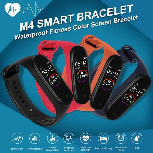M4スマートリストバンド防水血圧心拍数モニターfitnesstrackerスマートブレスレットM4バンド腕時計スポーツ歩数計
