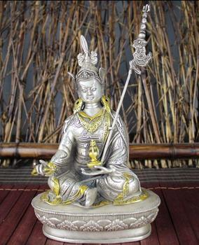 China Tibetan Buddhism collection archaize white copper padmasambhava Buddha statue