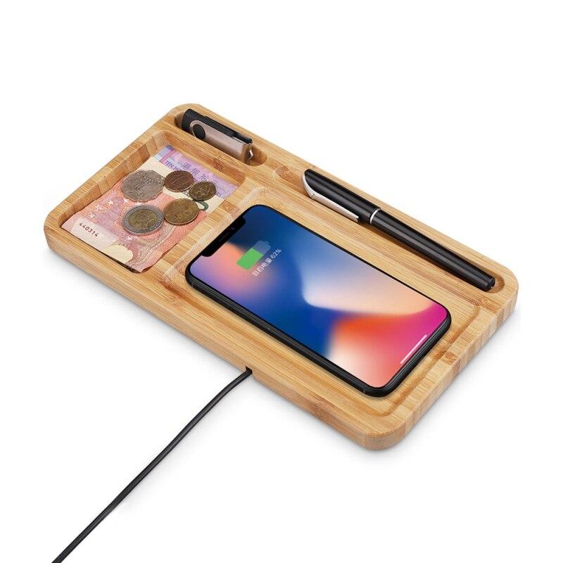 Cep telefonları ve Telekomünikasyon Ürünleri'ten Cep Telefonu Şarj Cihazları'de Bambu kablosuz şarj 10W Qi hızlı şarj pedi depolama tepsisi ile  IPhone ile uyumlu Samsung Galaxy Qi özellikli cihazlar title=