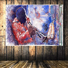 Retro Valance Rock and Roll Flag Band Lead Singer Portrait Poster Banner Oil Painting Tapestry Bedroom Music Studio Decor A2(China)