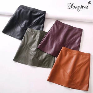 Pu Faux Leather Women Skirts A-Line Above Knee Mini Skirts Plus Size Jupe Femme Faldas Mujer