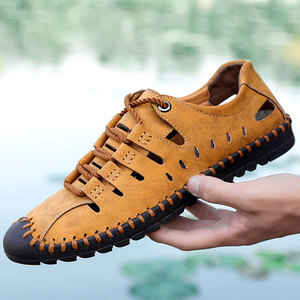 Image 5 - Vamnie Summer Mens Sandals Beach Leather Sandals for Men Gladiator Sandals Outdoor Sports Male Summer Shoes Large Size 38 48
