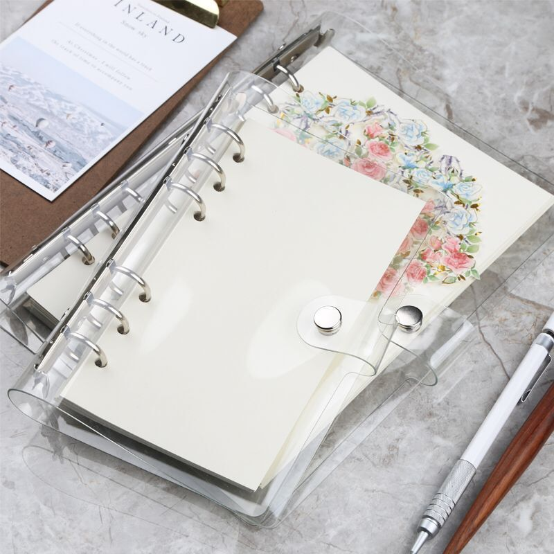 1Pc Transparent Pvc Clip File Folder A5/A6/A7 Notebook Loose Leaf Ring Binder Planner Agenda School Stationery Office Supplies