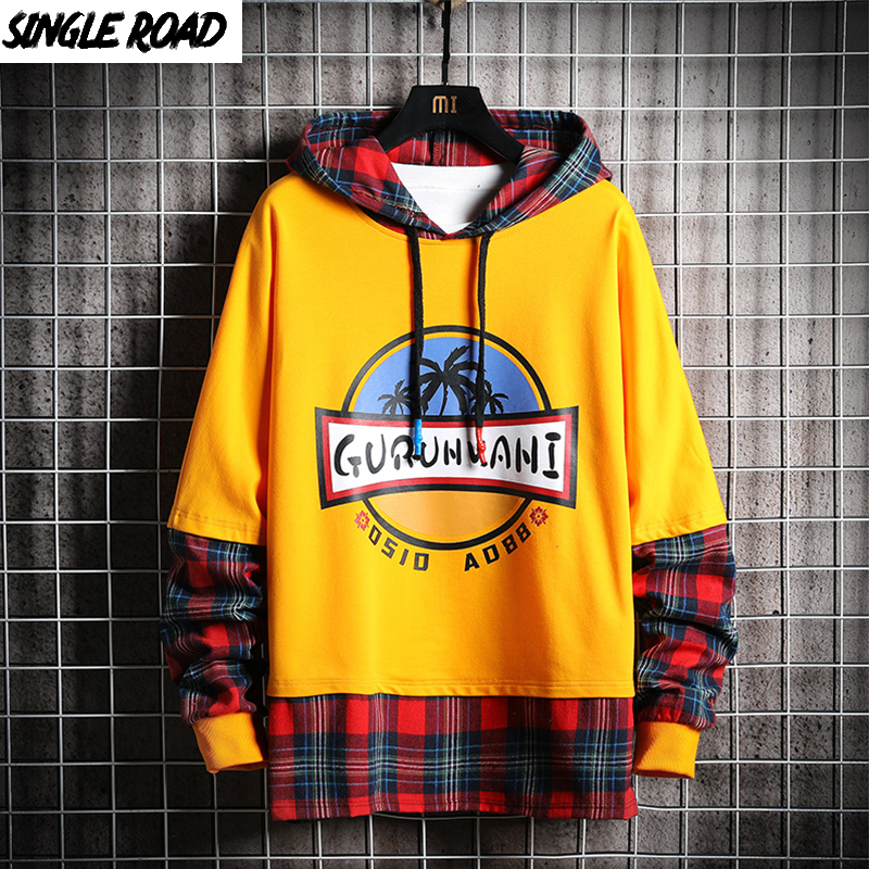 SingleRoad Men's Hoodies Men 2019 Spring Plaid Patchwork Sweatshirt Male Hip Hop Harajuku Japanese Streetwear Yellow Hoodie Men