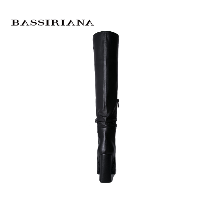 BASSIRIANA2019 leather over the knee boots high heel women 39 s winter boots women 39 s shoes black high quality in Knee High Boots from Shoes