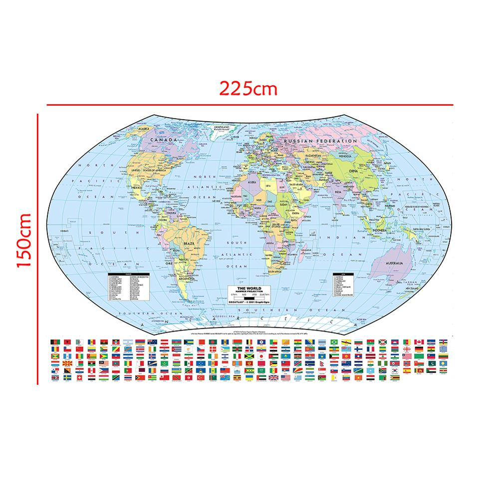 The World Hammer Projection Map With National Flags For Culture And Education 150x225cm Non-woven World Map
