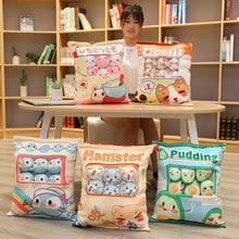 Cartoon Animals Pudding Bag Toy Plush 8 Mini Balls Animal Doll Bunny Avocado Penguin Hamster Cushion Props Plushie Gift