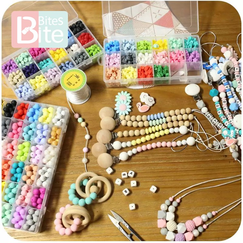 Купить с кэшбэком bite bites 15mm 30pc Silicone Beads Food Grade Silicone Baby Teething Products Chews Pacifier Chain Clips Beads Baby Teether Toy