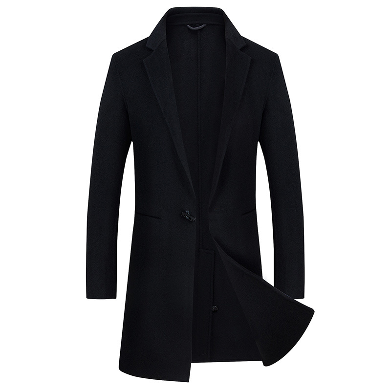 High Quality  Jackets & Coats Single Buckle Casual Mens Luxurious 100% Wool  Jackets Full Winter For  Male Wool  Overcoat